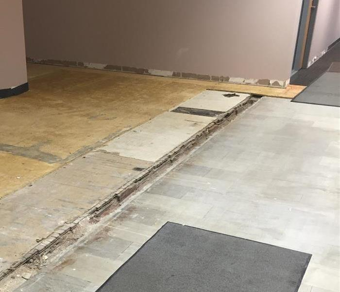 dry floor with carpet removed